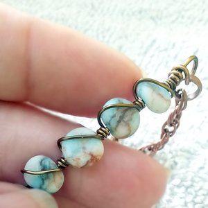 BOHO! Gypsy! Aqua + White Jasper + Copper Bracelet